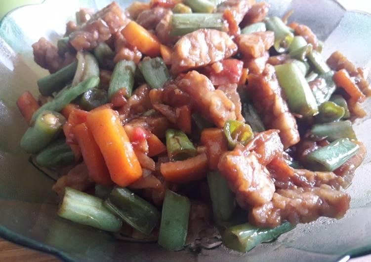 Oseng simple tempe wortel baby buncis