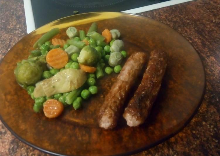 Cena ligera de longaniza de pavo-pollo y verduras