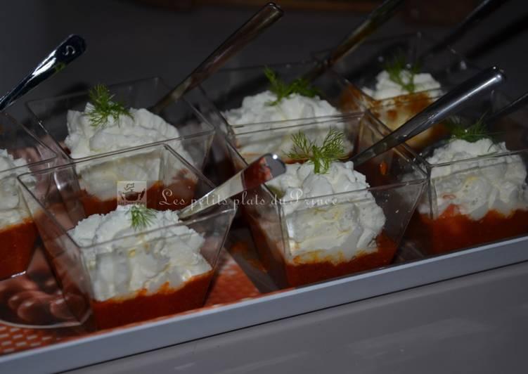 Verrines velouté de gambas et chantilly au fenouil