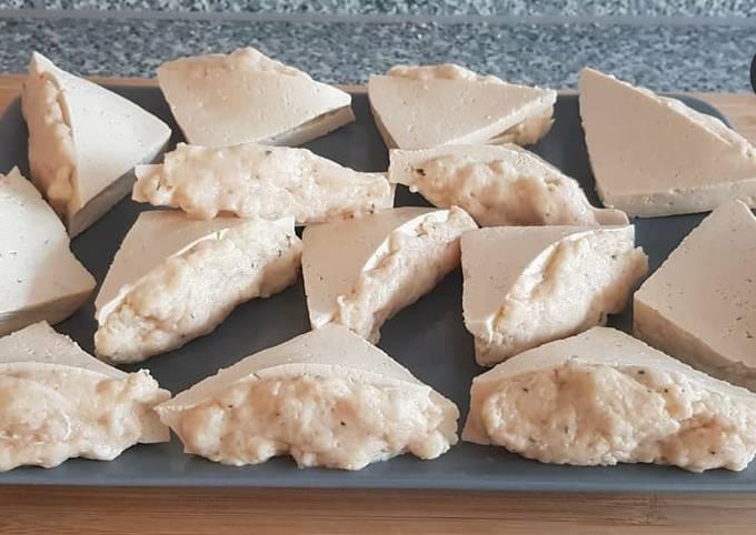 Fischknödel mit Tofu und Erdnussbuttersauce