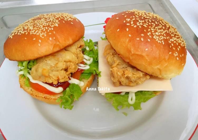 burger ayam foto resep utama Resep Indonesia CaraBiasa.com