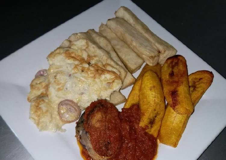Fried Yam, Dodo, Omelet and Fish Stew