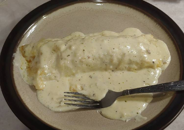 Jalapeno & Sausage stuffed Enchiladas in Alfredo Sauce - Laurie G Edwards