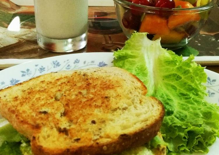 Easiest Way to Make Quick Egg sandwich with fruit salad and almond pumpkin seeds milkshake
