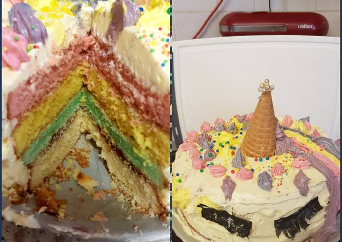 Easiest Way to Prepare Ultimate My Granddaughter and me made a Unicorn Cake 😉