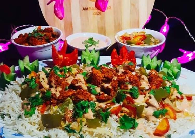 Spicy BBQ chicken rice with stir fry vegetables