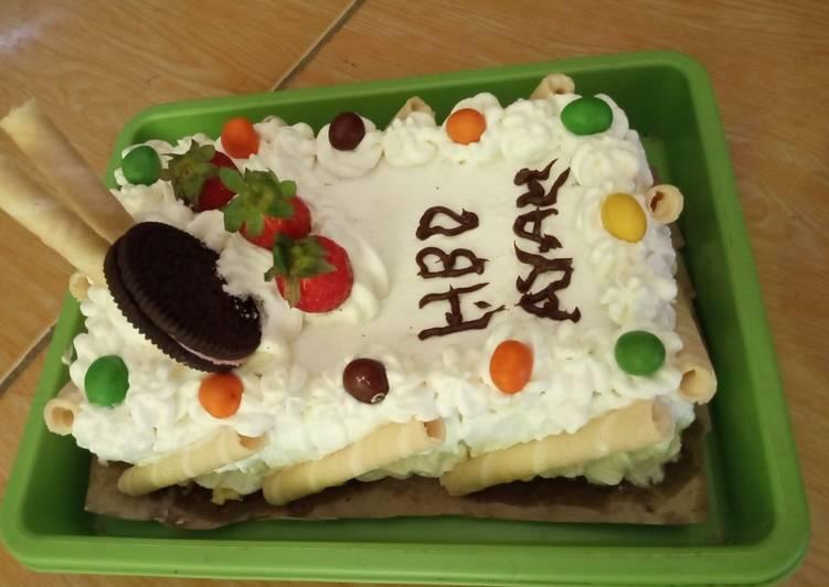 Kue ultah sederhana (base cake bolu) Happycall - cookandrecipe.com