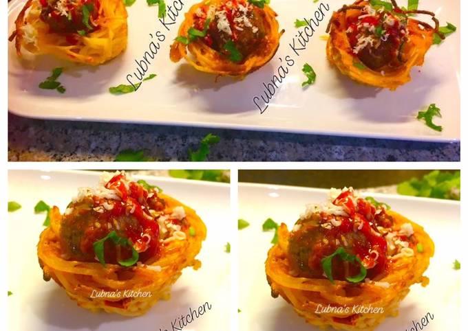 Spaghetti & Meatball baskets:
