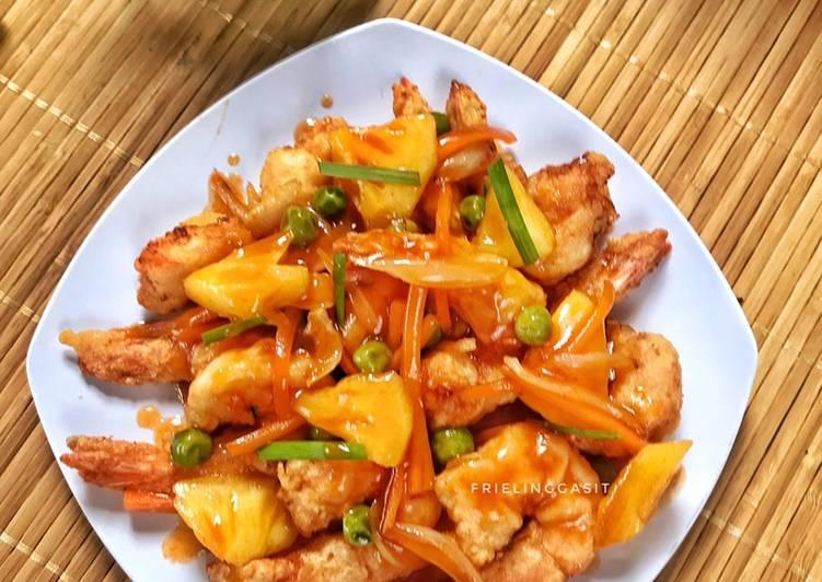 resep udang tepung asam manis  enak dimakan dengan nasi