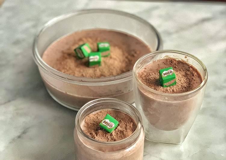 resep cara bikin Milo soft silky pudding