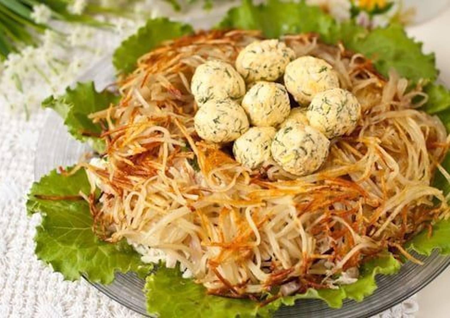 рецепт салата гнездо глухаря классический с фото этом пересечённом поле
