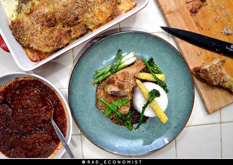 Ofada stew & breaded oven baked chicken