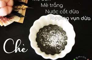 Chè mè đen mè trắng nước cốt dừa topping vụn dừa