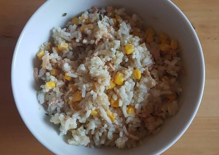 arroz blanco con atun para cenar