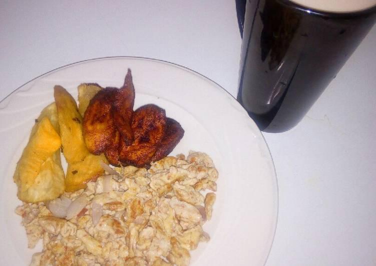 Sweet potatoes, plantain and scramble eggs