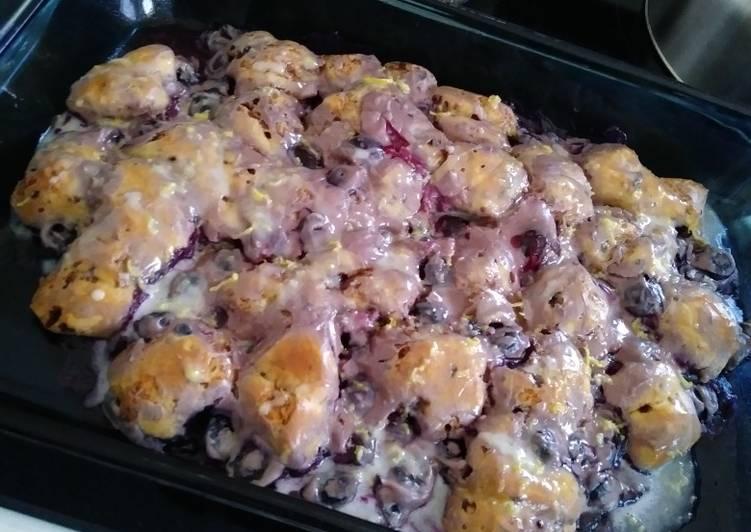Blueberry Lemon Cinnamon Roll Breakfast Bake