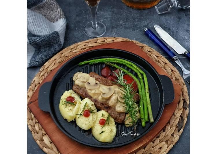 262. Steak Daging Sapi Saus Jamur | 牛排