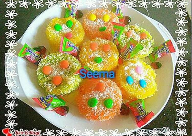 Colourful sweet bread (Malai peda)