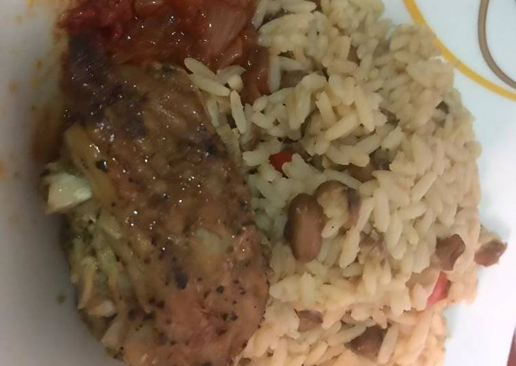 Steps to Prepare Super Quick Homemade Rice and Beans with Chicken Stew
