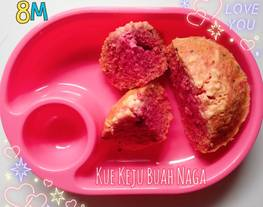 Kue Keju Buah Naga MPASI 8 Bulan (Camilan bayi)