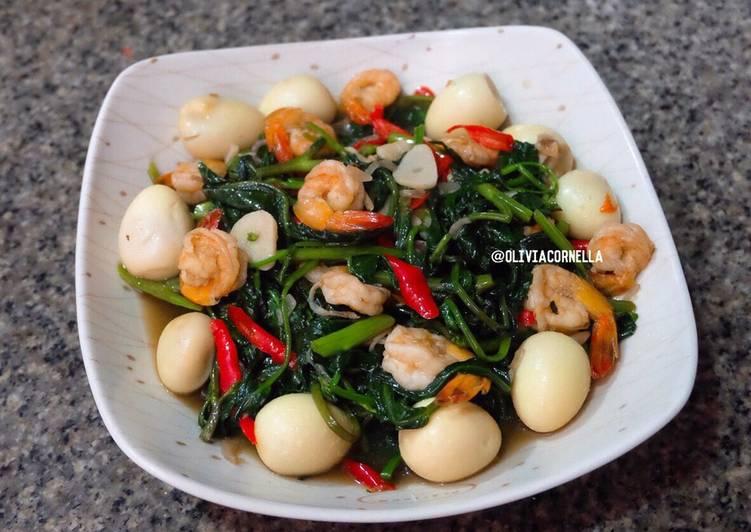 Resep Cah Kangkung / Tumis Kangkung Telur Puyuh oleh olivia