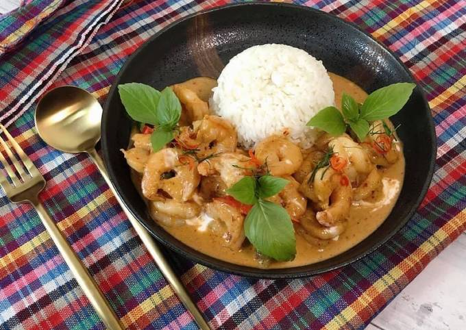 Easiest Way to Cook Tasty 🧑🏽🍳🧑🏼🍳How to Make Panang Curry with Shrimp • Thai Panang Curry Recipe |ThaiChef Food