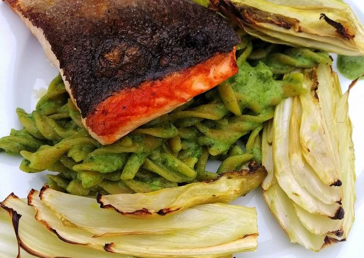 Recipe of Homemade Pan roasted salmon/lentil pasta, green pesto and roasted fennel
