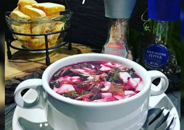 Eggtofu & Bayam Merah Soup || sup ringan utk sarapan / appetizer