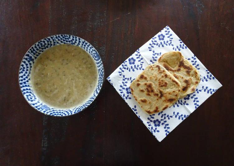 Soupe de courgettes-lentilles et Naan