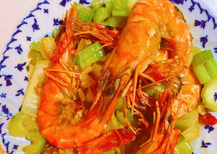 Garlic prawns with celery