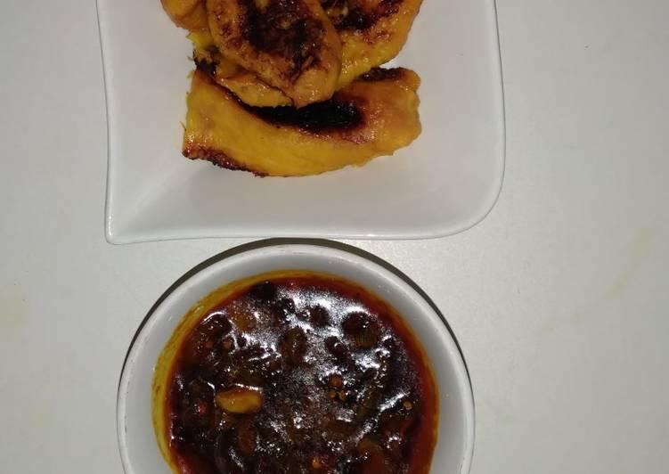 Pan Roast ripe plantain and crayfish sauce