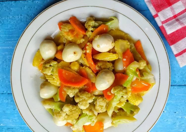 Capcay (3sayuran+telur puyuh)