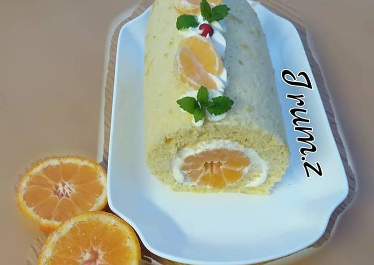 Simple Way to Make Favorite 🍊🍰Orange Swiss Roll🍰🍊