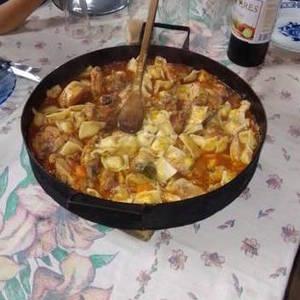 Pollo al disco con ravioles!!???? espectacular ???