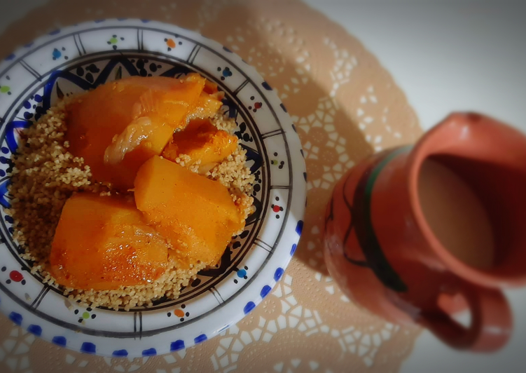 Étapes pour faire Fait maison Couscous de blé complet accompagné de citrouille 🍁