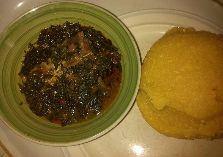 Eba with vegetables soup