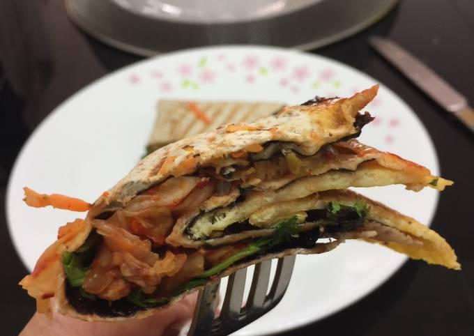 Kimchi And Feta Cheese Tortilla Wrap