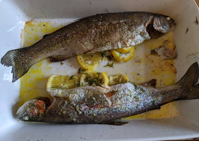 Baked whole trout with lemon and dill