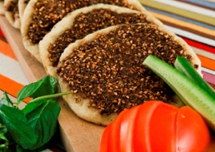 Recipe of Award-winning Open-faced thyme pies - manakeesh bi zaatar