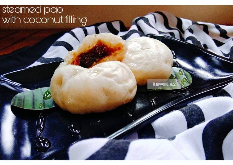 Steamed pao with coconut filling