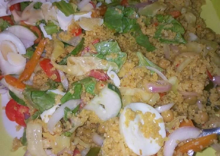 Veg couscous with salad