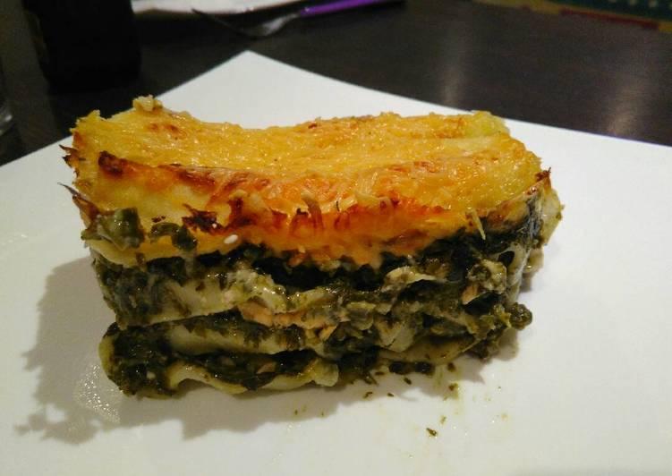 Lasagnes épinards et saumon, béchamel au chèvre