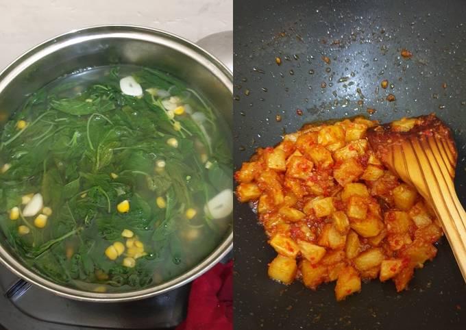 Bayam jagung dan kentang balado pedas manis