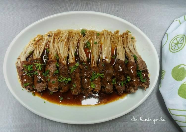 Enoki beef roll with teriyaki sauce
