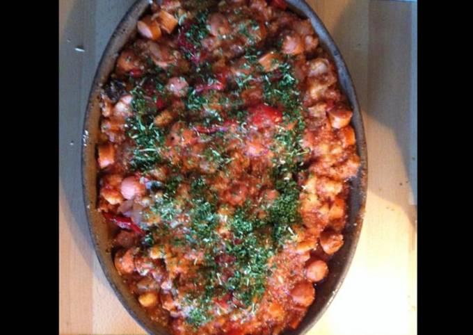 Gratin d attieke aux saucisses poivrons tomates et champignons