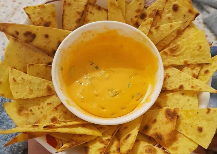 Corn Nachos with Quick Cheese Dip