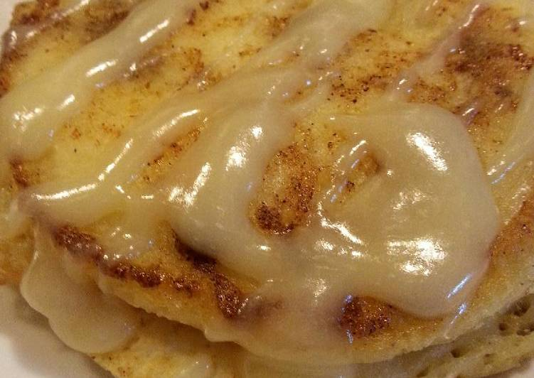 Cinnamon Roll Pancakes with Cream Cheese Glaze