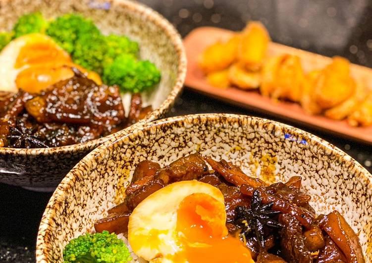 Taiwanese pork rice bowl/ lu rou fan/ nasi daging ala taiwan