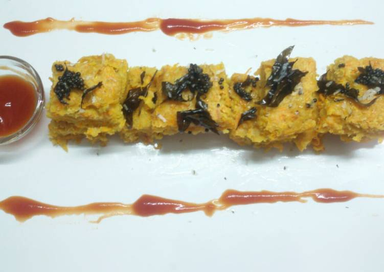 5 Minute Recipe of Cooking Carrot oats mix dhokla