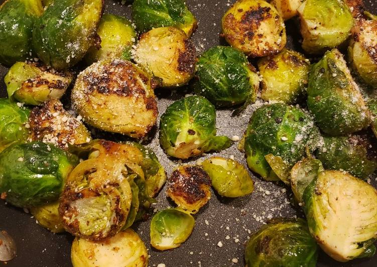 Pan seared brussel sprouts